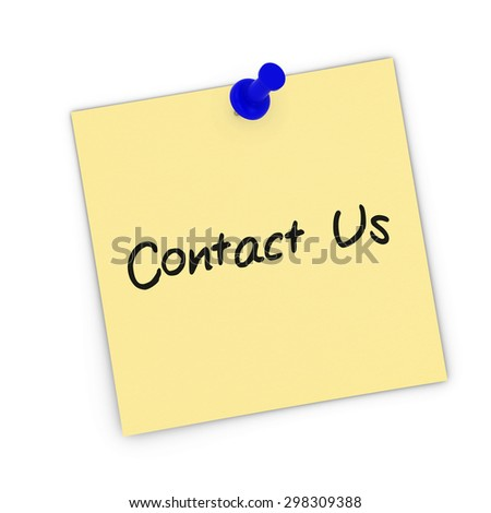 Contact Us Yellow Sticky Note Pinned to white background - stock photo