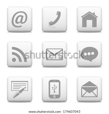 Contact web buttons set, email icons