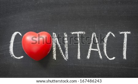 contact word handwritten on blackboard with heart symbol instead O