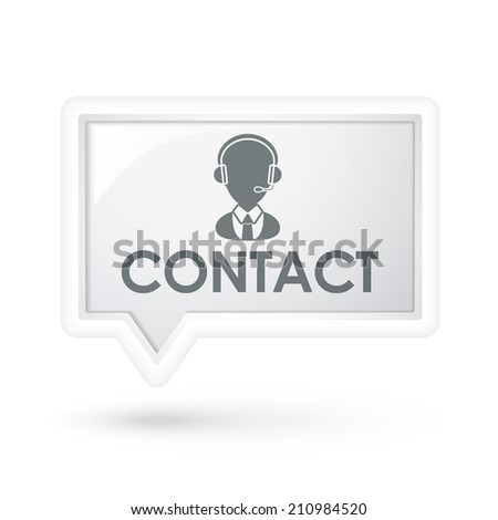 contact word with service icon on a speech bubble over white - stock photo
