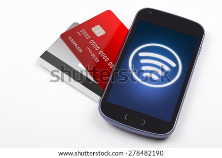 Contactless payment with mobile phone - stock photo