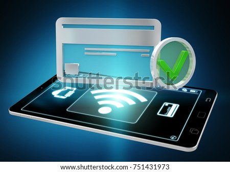 Contactless terminal payment isolated on blue background 3D rendering