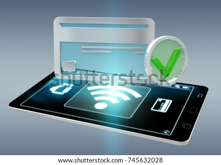Contactless terminal payment isolated on grey background 3D rendering