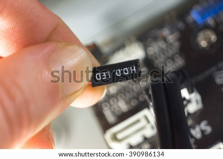Contacts for connecting the computer LEDs - stock photo