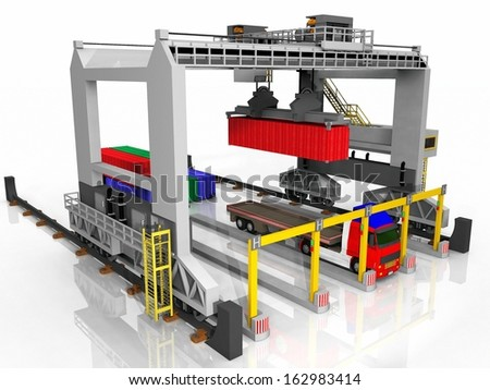 Container and truck loading station - stock photo