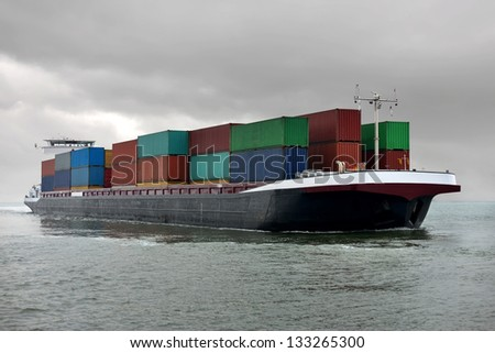 Container Barge - stock photo