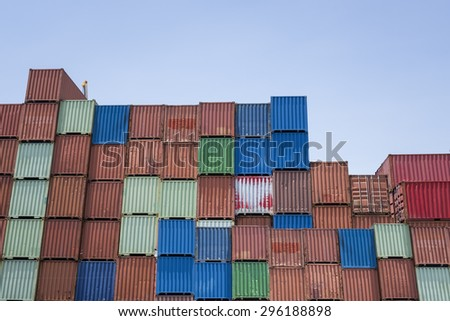 container box in logistic zone - stock photo