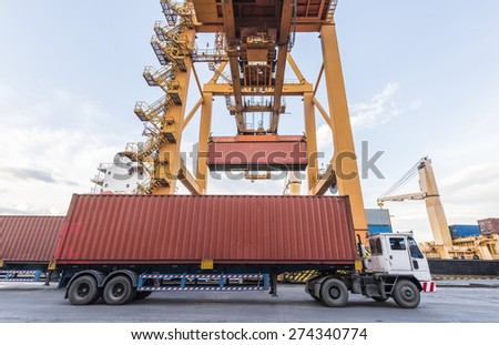 Container Cargo freight ship with working crane loading bridge in shipyard at Logistic Import Export Zone background - stock photo
