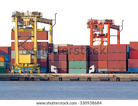 Container cargo freight ship with working crane loading bridge in shipyard isolated on white background - stock photo