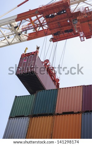Container cargo operation in port - stock photo