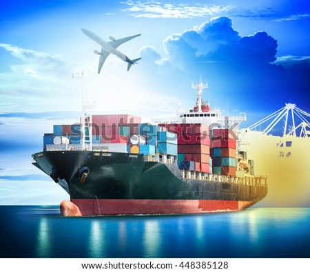Container Cargo ship with ports crane bridge in harbor and Cargo plane for logistic import export background and transport industry. - stock photo