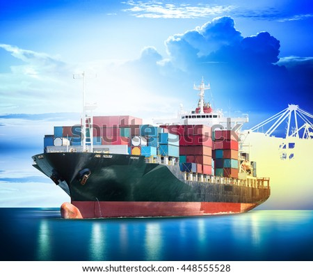 Container Cargo ship with ports crane bridge in harbor for logistic import export background and transport industry. - stock photo