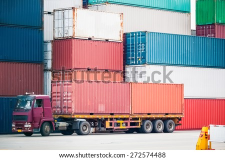 container depot and cargo truck, modern logistics background - stock photo