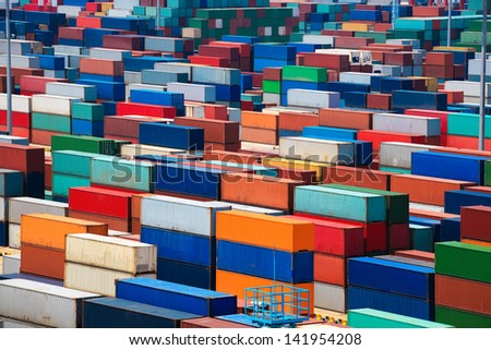 container depot in terminal as background - stock photo