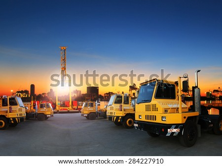 container dock and shipping transportation in ship yard use for import ,export and freight cargo business - stock photo