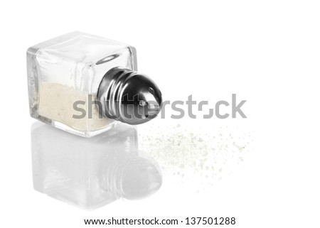 Container for salt isolated on white - stock photo