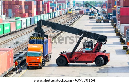 Container Forklift transport by rail.
