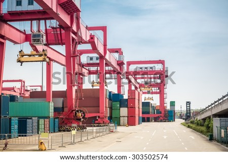 container freight yard close up , modern logistics and port background - stock photo