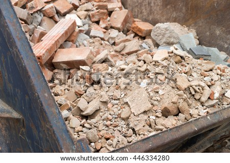 Container full of Building rubble and stones