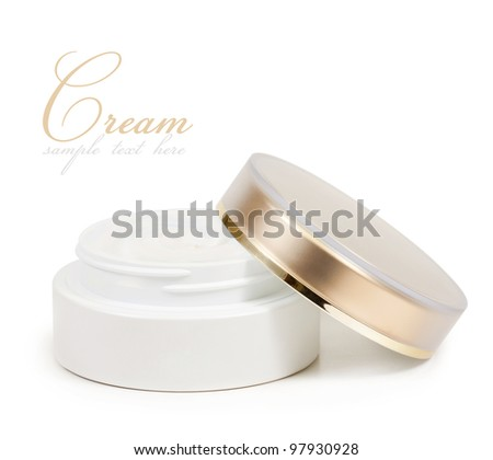 container of cream isolated on white background - stock photo