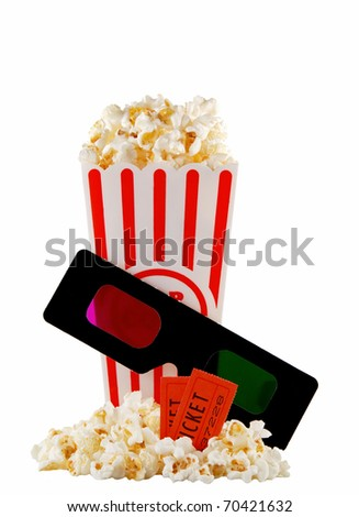 container of movie popcorn with 3D glasses and tickets, isolated on white