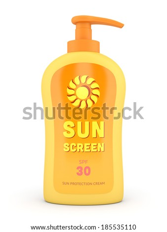 Container of sun cream: bottle with dispenser pump isolated on white background. Summer, sun tanning and sunscreen concept. - stock photo