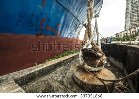 container operation in port series - stock photo