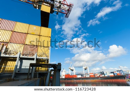 container operation in port series (Durban, South Africa) - stock photo