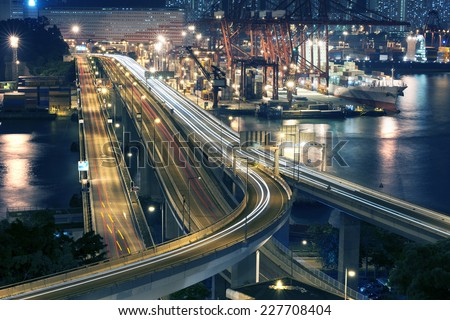 Container Port and Highway in Hong Kong - stock photo