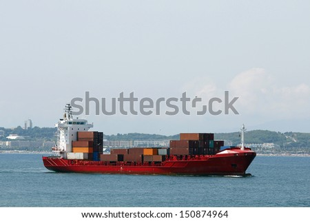 Container ship arriving at port