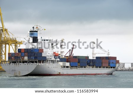 Container ship at Dakar harbour, Senegal, Africa