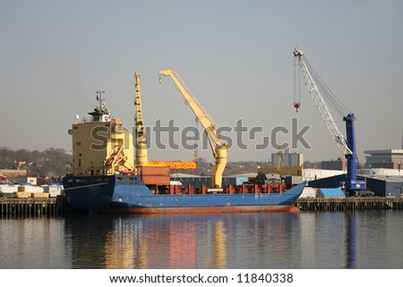 Container Ship Being Loaded in Port