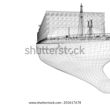 Barge cargo model body structure wire stock illustration for Structure container maritime