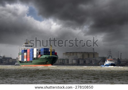 Container ship in bad weather