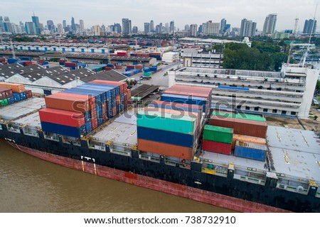 Container ship in import export and business logistic, By crane, Trade Port, Shipping cargo to harbor, International transportation, Business logistics concept, Aerial view from drone