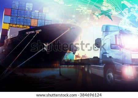 container ship in  port and truck for logistic and transportation industry - stock photo