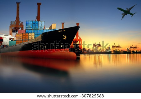 container ship in port for logistic and transport business - stock photo