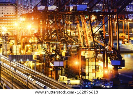 container ship in the port of HongKong - stock photo