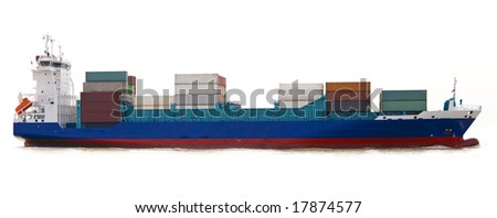 container ship isolated - stock photo
