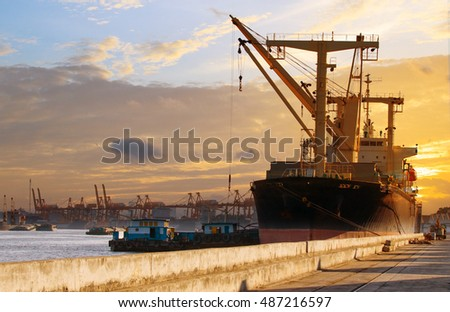 container ship loading in port