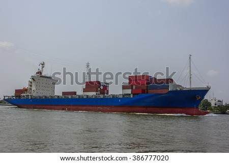 Container ship sailing from port