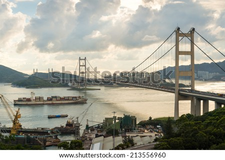 container ship through under Tsing Ma bridge, Hongkong