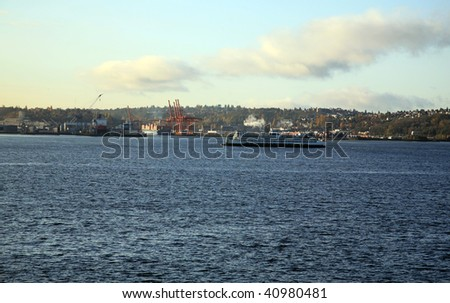 container ships enter elliot bay in seattle washington
