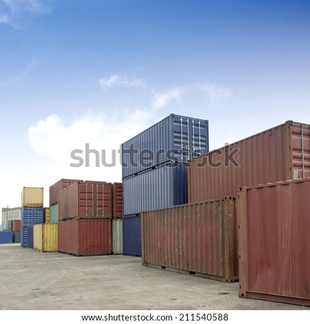 Container stacking - stock photo