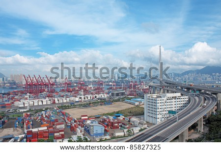 container terminal at day - stock photo