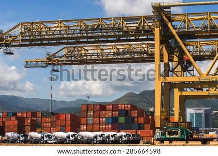 container terminal at the port genoa - stock photo