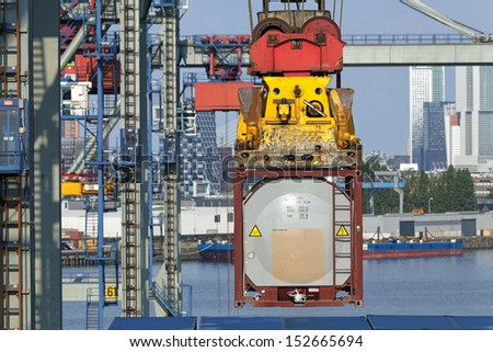 Container terminal in the harbor of Rotterdam - stock photo