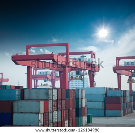 container terminal under the blue sky - stock photo
