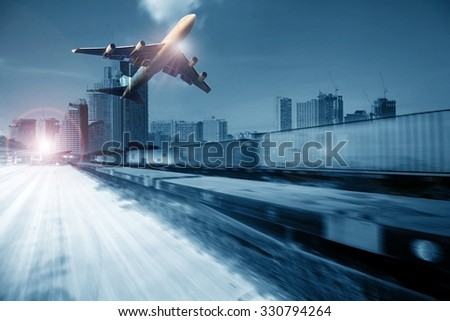 container trains ,commercial freight cargo plane flying above use for logistic and transportation industry background  - stock photo