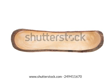 Container, tray, nut shell shape made of wood, isolated on white background - stock photo